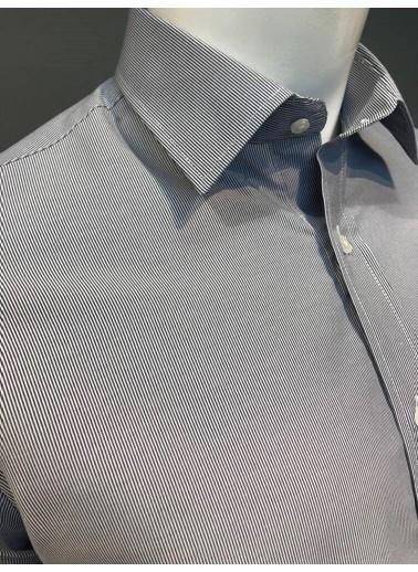 Abbate Kolay Ütülenır Klasık Yaka Çızgılı Regularfıt Ceplı Gömlek Lacivert